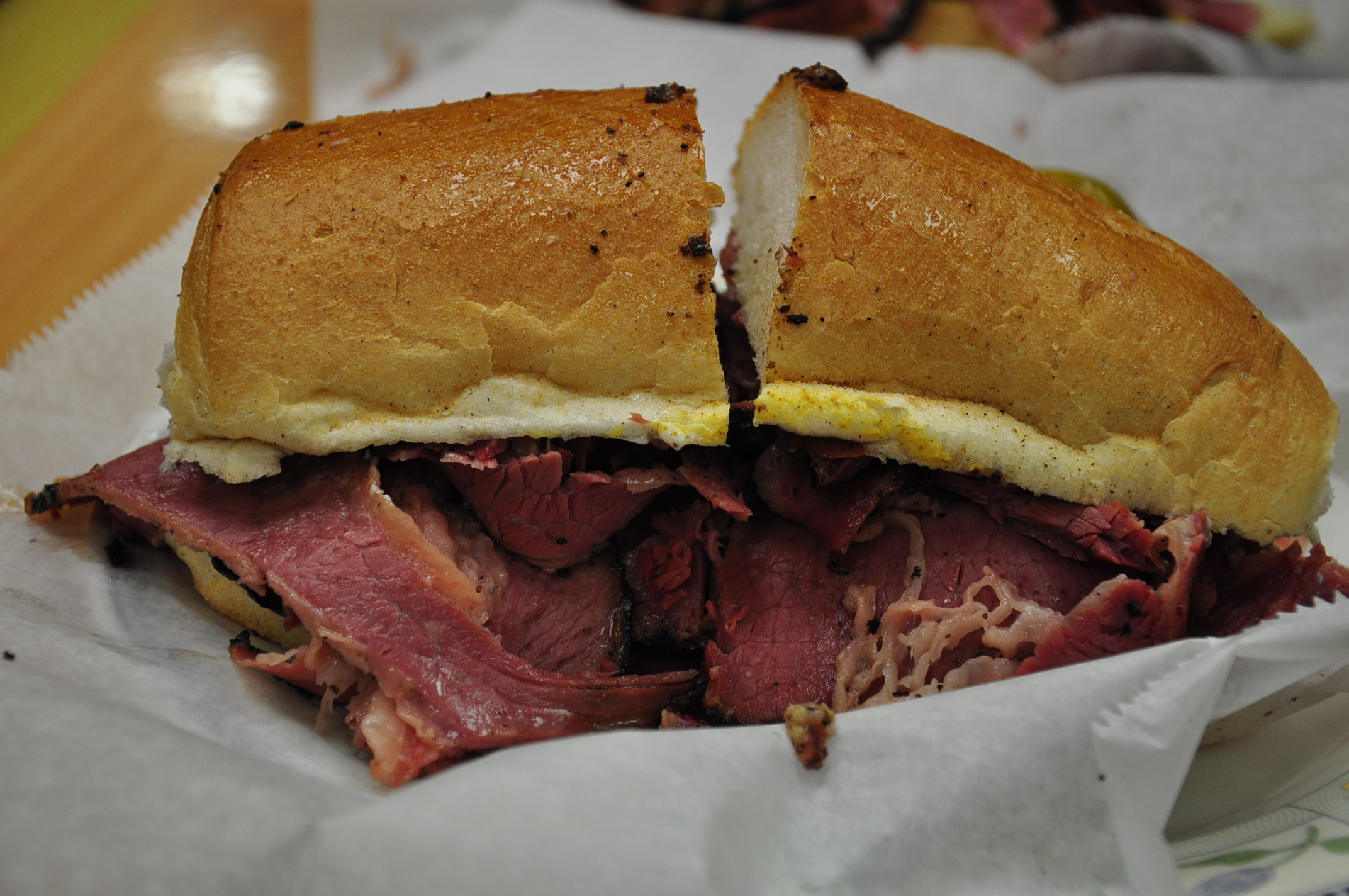 My beauty of a pastrami sandwich.