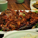 Called lamb chops on the menu these were actually lamb ribs, braised (we think) and then fried with a crust of cumin, sesame seeds, chilis and othe spices.  This dish was ridiculous.