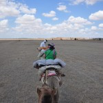 Camel riding in the Thar Desert outside Jaisalmer.