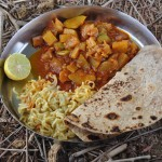 Desert linch: spicy vegetables, Maggo noodles and freshly made chapati.