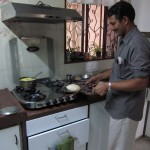 The cook at Shefali's Aunt and Uncle's place prepares fresh chapati or rotli.