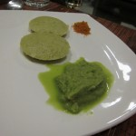 Idli and coconut mint chutney and chili