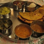 Our first thali dinner at an all veg restaurant called the Four Seasons.