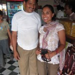 Shef poses with our regular waiter at Chandan Shree.