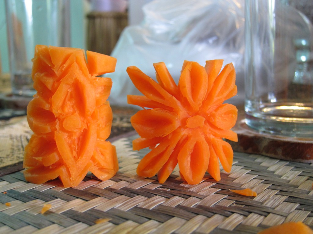 Along with cooking we also learned how to carve these carrots out of flowers.  Can you tell which one is Shefali's and which one is mine? (hint: mine looks like it was carved using a knife and not teeth)
